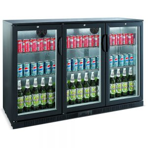 Unitech BC30HBE 3 Door Hinged Back Bar Display Fridge