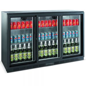 Unitech BC30SBE 3 Door Sliding Back Bar Display Fridge